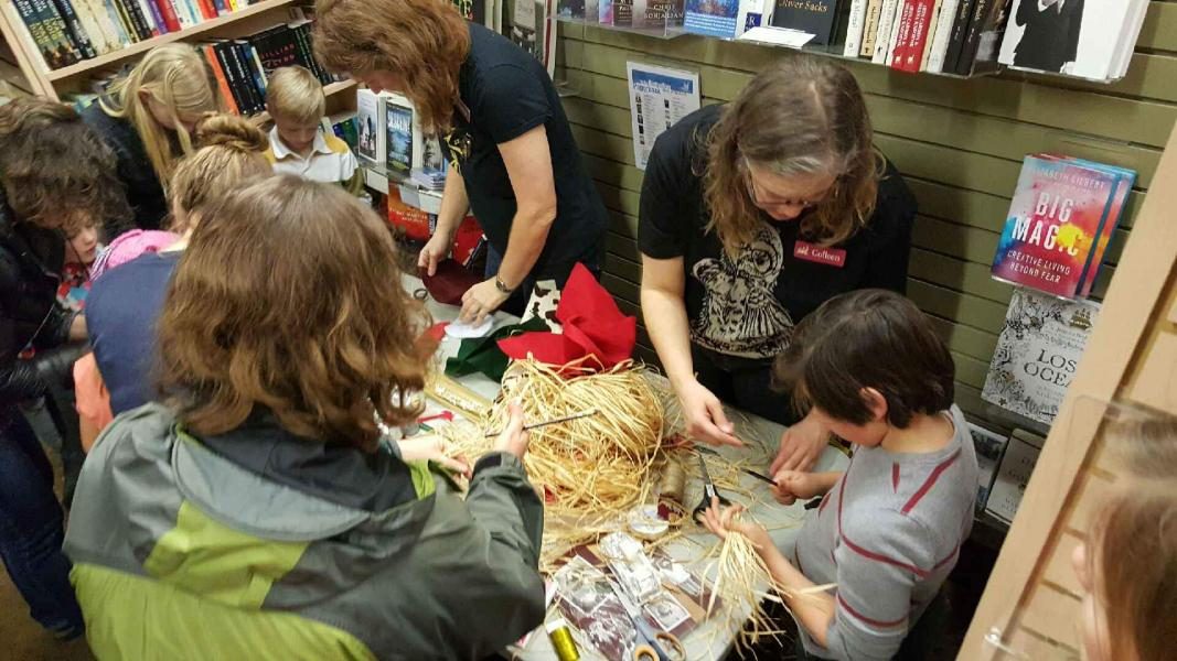 Harry Potter Night featuring some of our customers and staff making broomsticks and monster books.